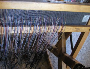 Success! Ready to cut off the remaining old warp & tie on new warp.