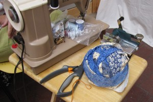 Some Enchanted Weavings brought her stripper and sewing machine to demo.