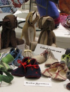 Felt goats (I do so love goats) and felt baby boots by UpCycled Fashion.