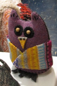 Here is an UpCycled Fashion felt owl.