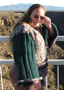 This is me at the Taos Gorge in my knitted sweater.