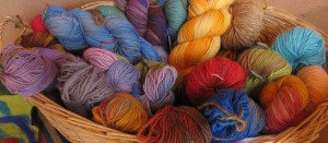 Locally spun, hand-dyed wool by TDLT Fiber Artists.