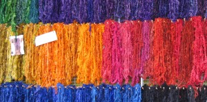 Hand-spun skeins by Lisa Joyce Designs.