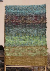 Cotton-rayon shag, 28inx85, Spring Unfurled