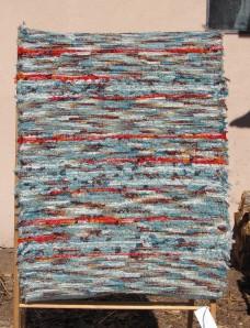 Wool shag, 28inx49in, Seafoam & Orange Sherbert