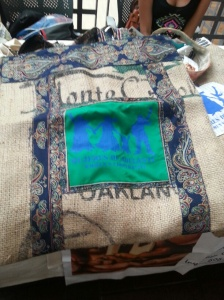 Decorated burlap bags by Mujeres de Adelante Cooperative.